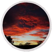 Round Beach Towel featuring the photograph Sky On Fire by Angela DeFrias