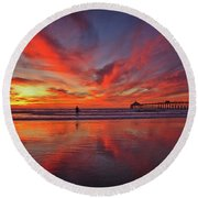 Sky On Fire At The Imperial Beach Pier Round Beach Towel