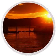 Round Beach Towel featuring the photograph Sky On Fire by Living Color Photography Lorraine Lynch