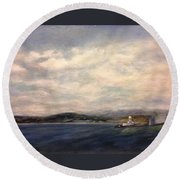 The Port Of Everett From Howarth Park Round Beach Towel