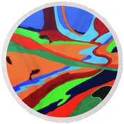 Round Beach Towel featuring the painting Sky Rivers by Jeanette French