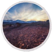 Round Beach Towel featuring the photograph Sky Rock by Tassanee Angiolillo