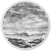 Sky Rocks And Water Round Beach Towel