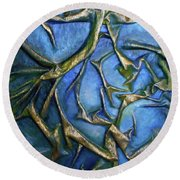Round Beach Towel featuring the mixed media Sky Through The Trees by Angela Stout