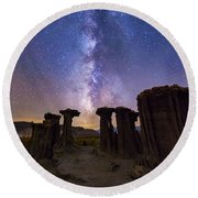 Round Beach Towel featuring the photograph Sky Watchers by Tassanee Angiolillo