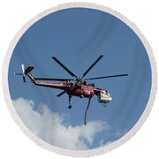 Skycrane Works The Red Canyon Fire Round Beach Towel
