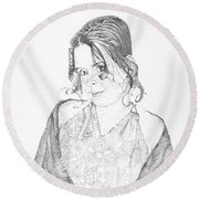 Round Beach Towel featuring the drawing Skye by Mayhem Mediums