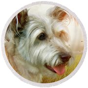 Skye Terrier Round Beach Towel