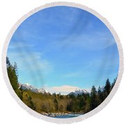 Skykomish River And Persis Round Beach Towel
