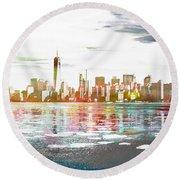 Skyline Of New York City, United States Round Beach Towel