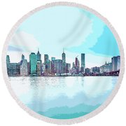 Skyline Of New York City, United States In Blues Round Beach Towel