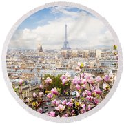 skyline of Paris with eiffel tower Round Beach Towel