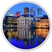 Skyline Of The Hague At Dusk During Blue Hour Round Beach Towel by IPics Photography