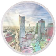 Skyline Of Warsaw Poland Round Beach Towel