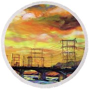 Skylines Round Beach Towel
