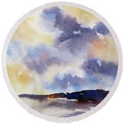 Round Beach Towel featuring the painting Skyscape 1 by Rae Andrews