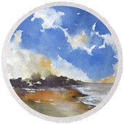 Round Beach Towel featuring the painting Skyscape 4 by Rae Andrews