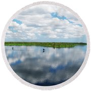 Skyscape Reflections Blue Cypress Marsh Conservation Area Near Vero Beach Florida C2 Round Beach Towel