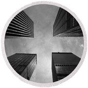 Round Beach Towel featuring the photograph Skyscraper Intersection by Linda Edgecomb