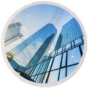Skyscrapers Round Beach Towel by JR Photography