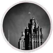 Skyscrapers Then And Now Round Beach Towel by Frank J Casella