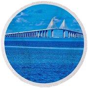 Skyway Bridge Round Beach Towel