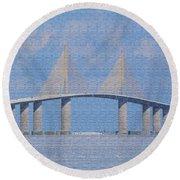 Skyway Bridge Round Beach Towel by Rosalie Scanlon