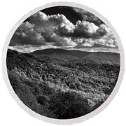 Skyway Clouds In Black And White Round Beach Towel by Chrystal Mimbs