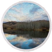 Slack Weiss Lake Round Beach Towel