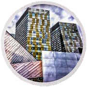 Slanted Las Vegas Skyline Round Beach Towel