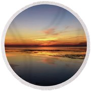 Round Beach Towel featuring the photograph Touching The Golden Cloud by Thierry Bouriat