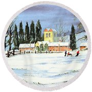 Round Beach Towel featuring the painting Sledding With Dad by Bill Holkham