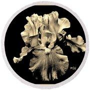 Sleek Sepia Iris Round Beach Towel