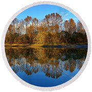 Fraser River Arm  Round Beach Towel by Heather Vopni