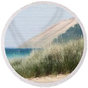 Sleeping Bear Sand Dune Round Beach Towel by Dan Sproul