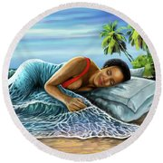 Sleeping Beauty Round Beach Towel by Anthony Mwangi