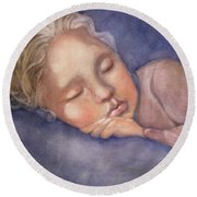 Sleeping Beauty Round Beach Towel by Marilyn Jacobson