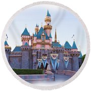 Sleeping Beauty's Castle Disneyland Round Beach Towel