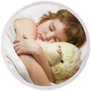 Sleeping Boy Round Beach Towel