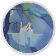 Sleeping Fairies Round Beach Towel by Blue Sky