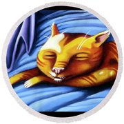 Sleeping Kitty Round Beach Towel