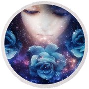 Round Beach Towel featuring the digital art Sleeping Rose by Mo T