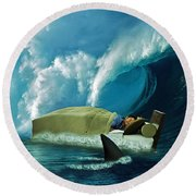 Sleeping With Sharks Round Beach Towel by Marian Voicu