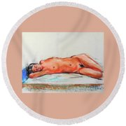 Sleepingblue Round Beach Towel
