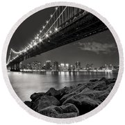 Sleepless Nights And City Lights Round Beach Towel