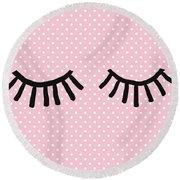 Sleepy Eyes And Polka Dots- Art By Linda Woods Round Beach Towel