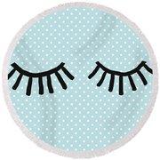 Sleepy Eyes And Polka Dots Blue- Art By Linda Woods Round Beach Towel