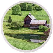 Round Beach Towel featuring the photograph Sleepy Hollow Reflections by Rod Best
