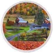 Sleepy Hollows Farm Woodstock Vermont Vt Autumn Bright Colors Round Beach Towel