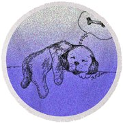 Sleepy Puppy Dreams Round Beach Towel